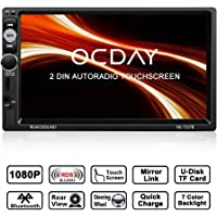 Autoradio Bluetooth 2 Din OCDAY, Autoradio écran tactile 1080p HD 7 pouces, Mirrorlink, Lecteur vidéo mains libres stéréo voiture MP5 télécommande BT / FM / USB / TF IR avec Caméra de Recul