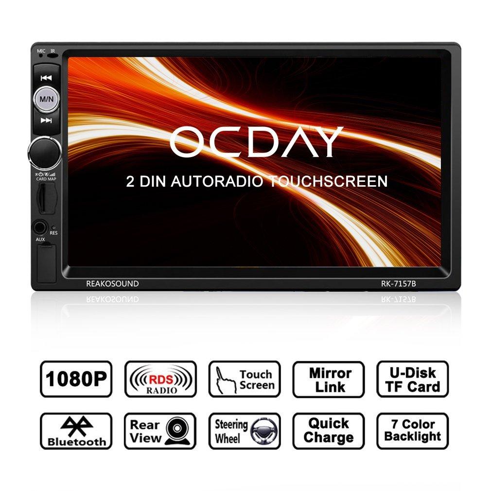 Doppel Din Autoradio, OCDAY 2 Din Autoradio mit FHD Touchscreen, Autoradio MP5 Spieler Bluetooth, Mirrorlink((Android Phone), USB/TF/ FM/AM/RDS Radio Tuner/Aux in/Unterstü tzung Rü ckfahrkamera