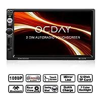 Autoradio Doppio Din , Autoradio OCDAY 2 DIN con touch screen 7 inch HD 1080P, Mirrorlink , USB/TF/ FM/AM/RDS Radio Tuner/Aux in/supporto fotocamera per retromarcia/Telecomando