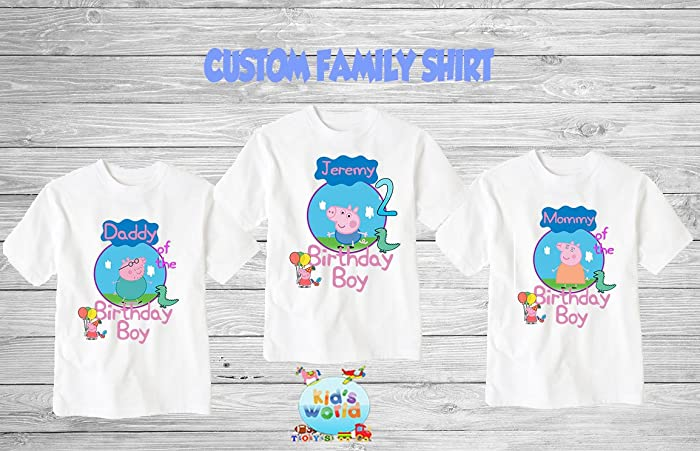 5726409ef Amazon.com: George Pig Birthday Shirt, Custom George Pig Shirt,Personalized  George Pig Apparel,Custom George Pig Birthday Shirt, George Pig Theme Party  d24: ...