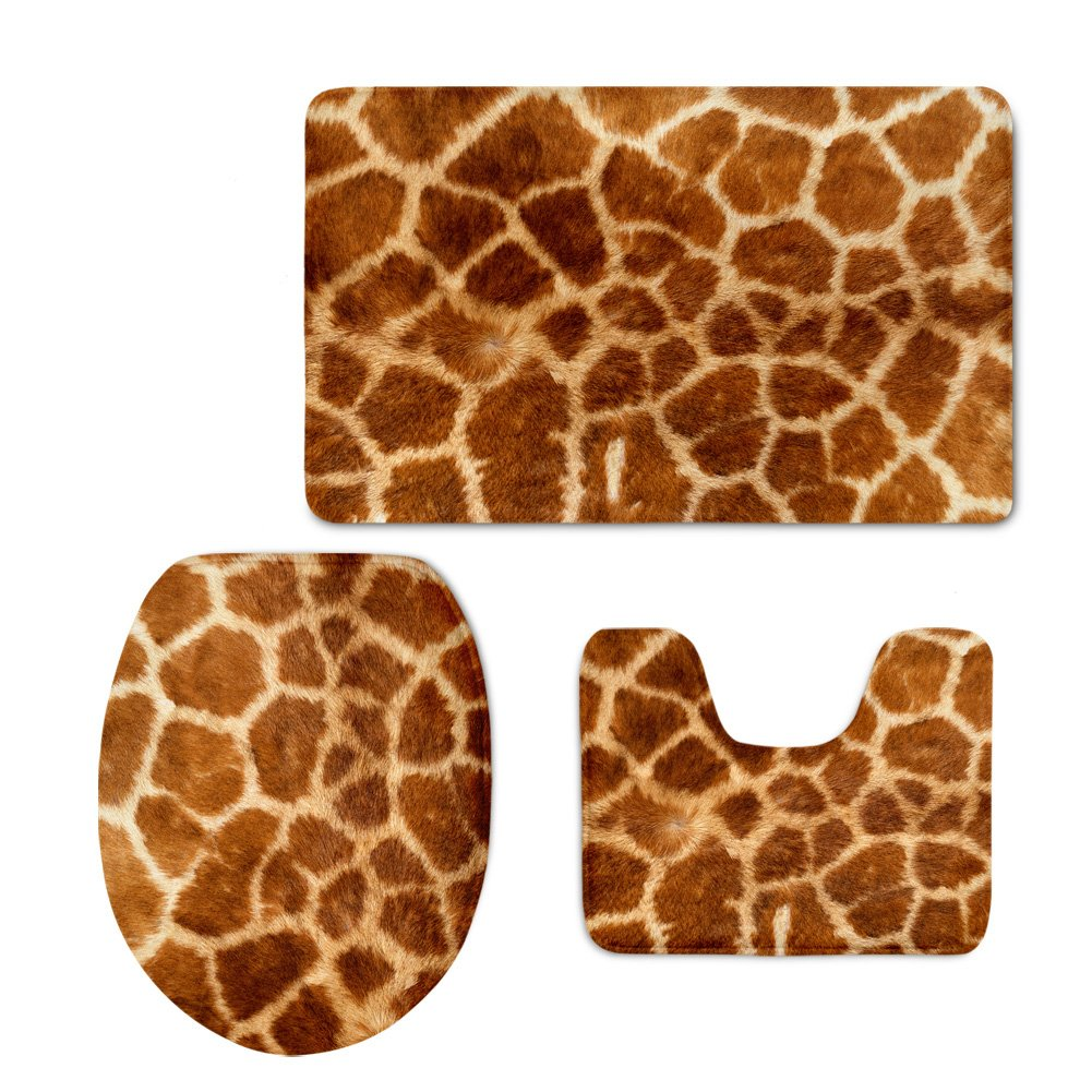 Bathroom Rug Mat with Flannel By Horeset,3-Piece Set Giraffe Print Bath Mate/Contour Rug /Toilet Lid Cover