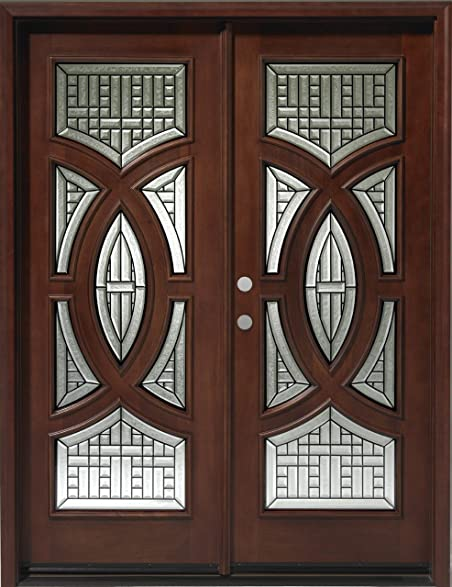 Solid Wood Mahogany Front Double Door Unit Pre Hung Finished