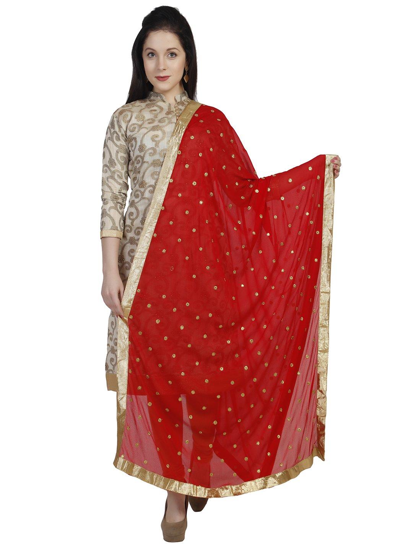 Dupatta Bazaar Woman's Embroidered Designer Red & Gold Chiffon Dupatta Stole / Scarf Shawl/Chunni