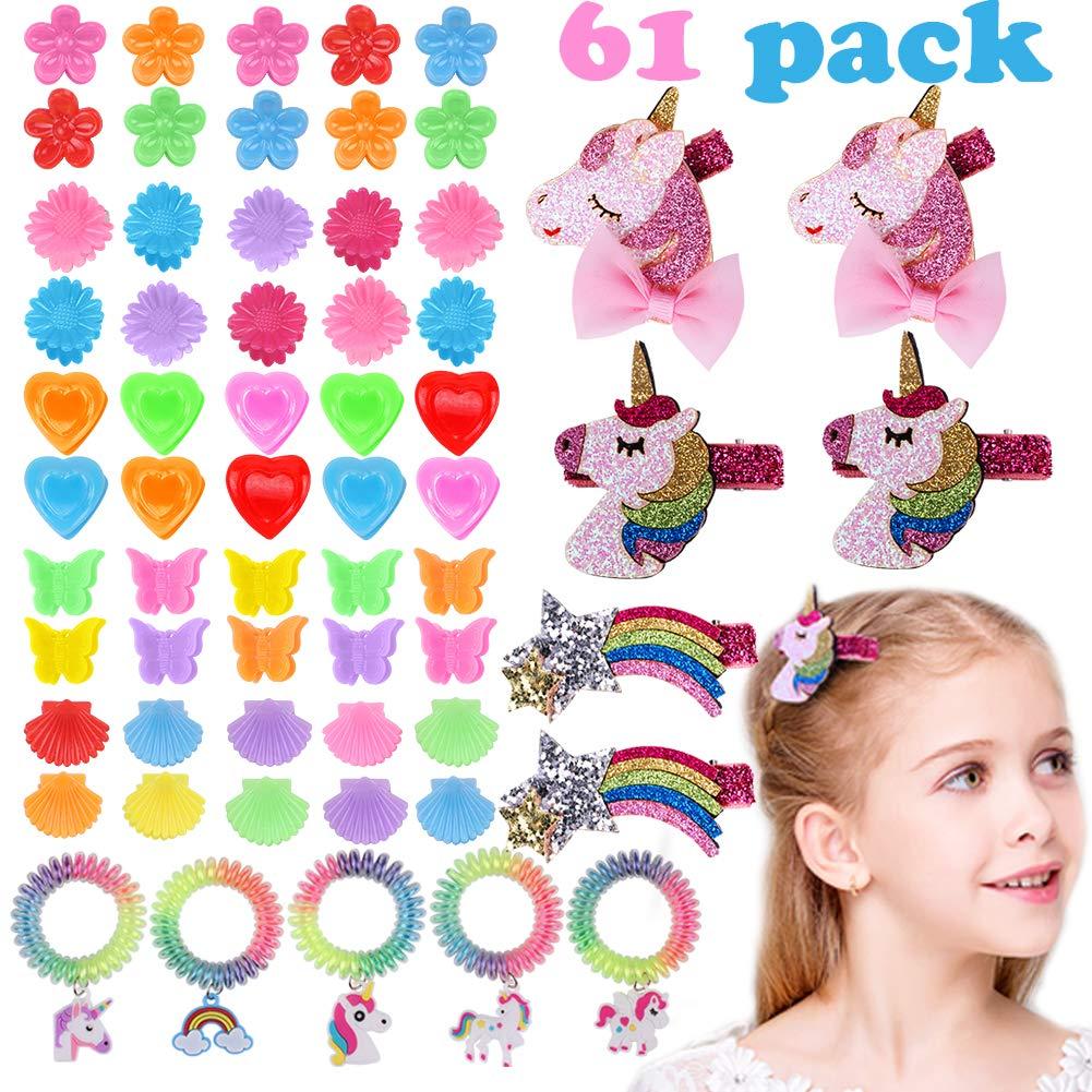Tacobear Accessori per capelli Ragazza Unicorno Legami dei capelli Fermagli per capelli per Baby Ragazze Bambini Bambine 61 pezzi