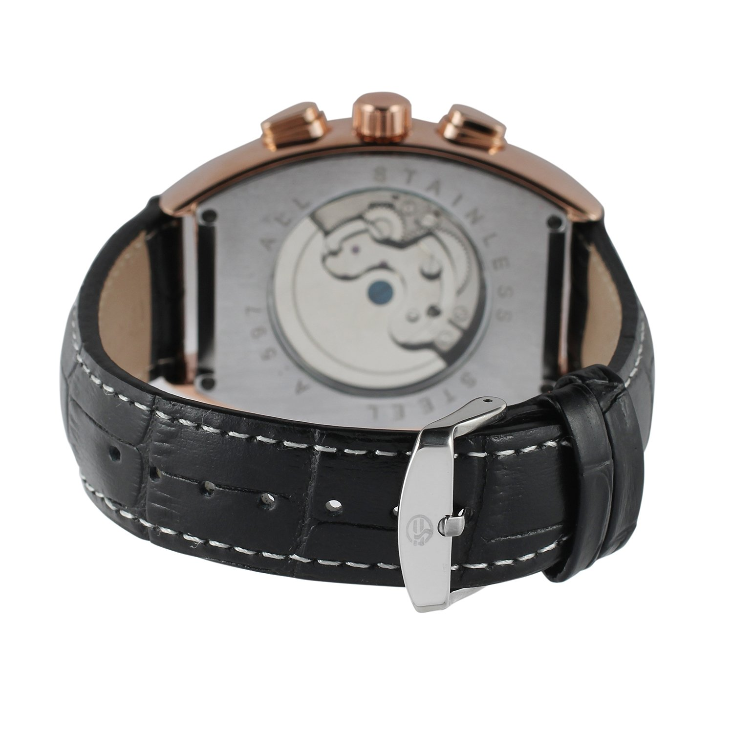 Forsining Men's Automatic Self-winding Tourbillon Calendar Brand Learher Strap Collectiton Watch FSG9409M3R5 by FORSINING (Image #4)
