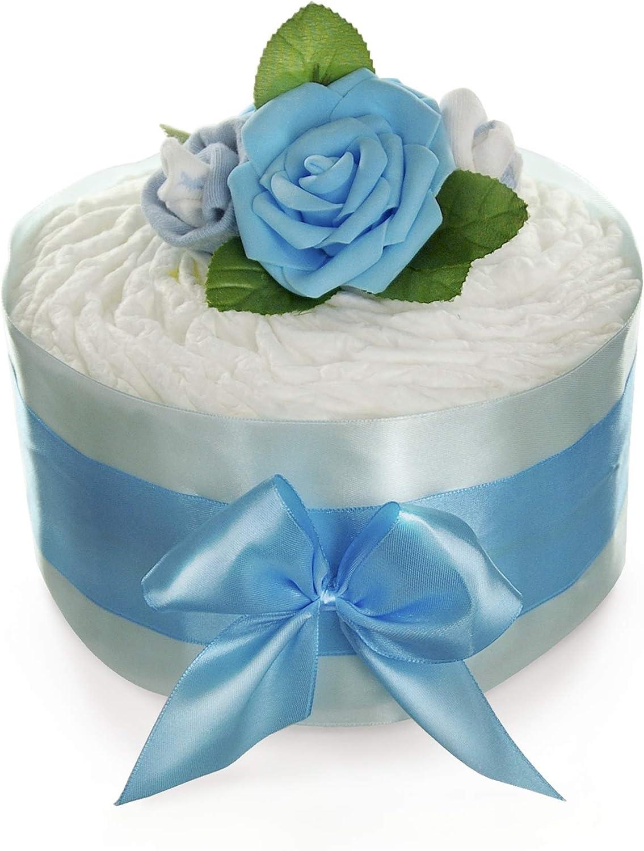 G/âteau de couches jeunes Bleu Roses Fleur Pampers New Baby/ /zuckers/ü/ße Couche Tartes by dubistda /Cadeau de Naissance Boy/