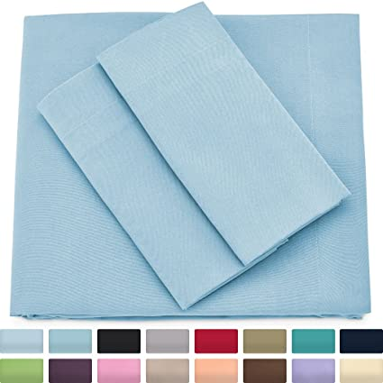 Premium Bamboo Bed Sheets   Queen Size, Baby Blue Sheet Set   Deep Pocket