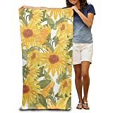 "Microfiber Beach Towel Watercolor Sunflower Pattern 30"" X 60"" Soft Lightweight Absorbent For Bath Swimming Pool Yoga Pilates Picnic Blanket Towels"