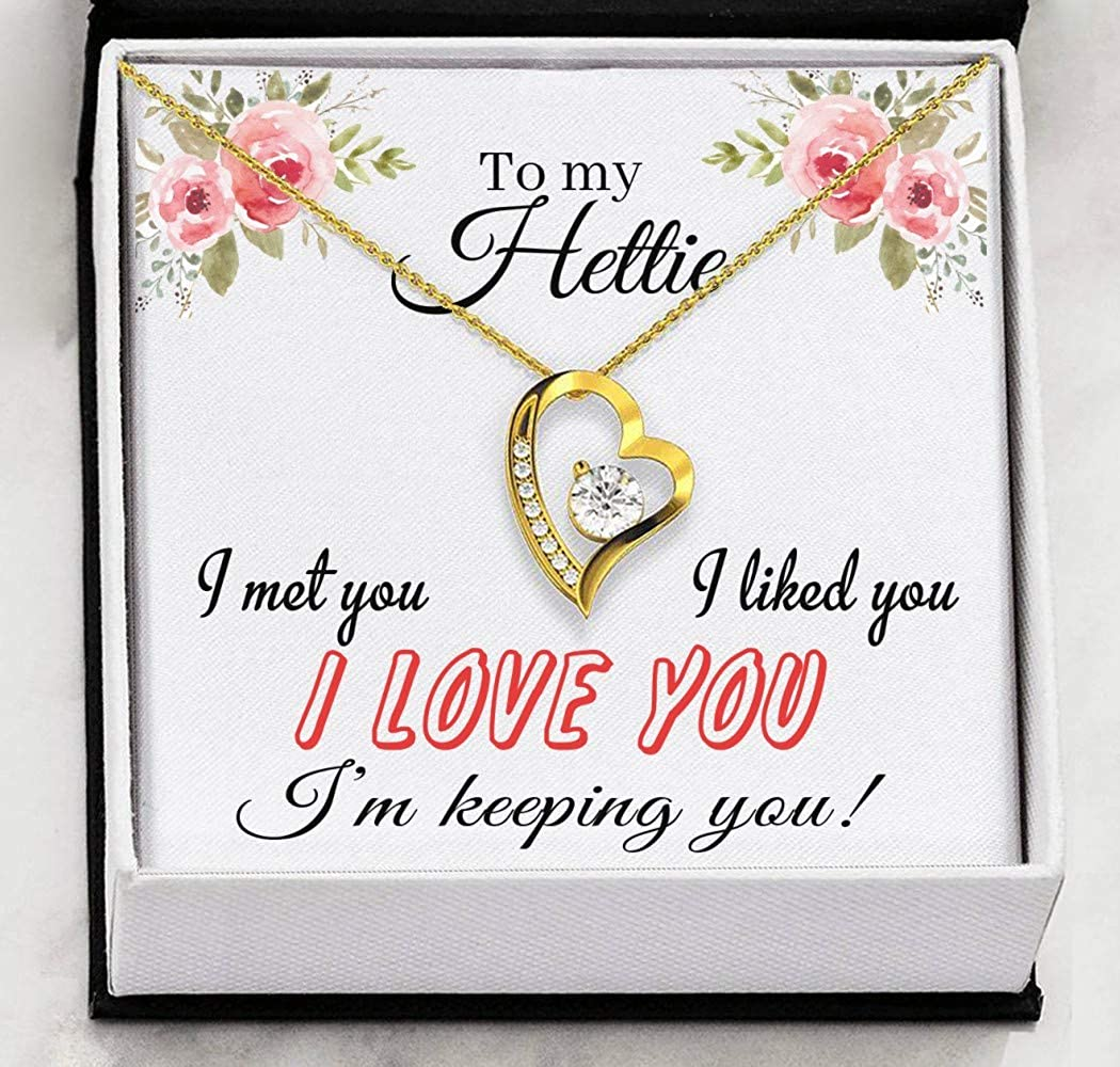 Im Keeping You Heart Necklace Pendant Necklace with Message for Women I Liked You FamilyGift Valentines Day Necklaces for Her I Love You to My Hettie I Met You