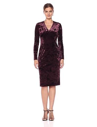 198ae282c27 Maggy London Women s Crushed Velvet Long Sleeve Mid Length Sheath