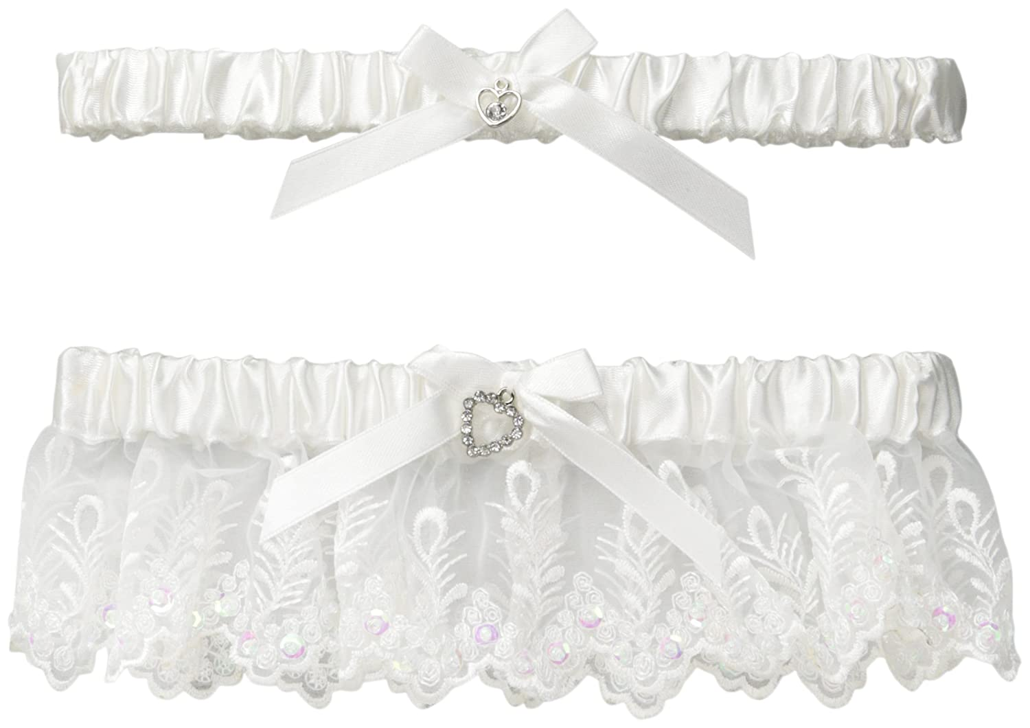 iCollection Women's 2 Piece Toss Garter Set White One Size iCollection Exotic IA 7401