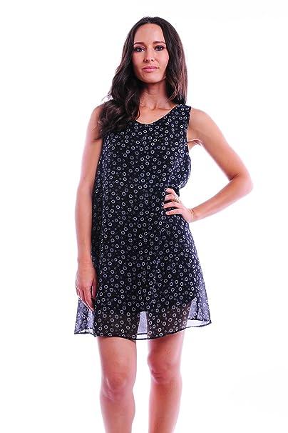 Simply Ravishing Womens Sleeveless Chiffon Shift Dress Small Floral Black