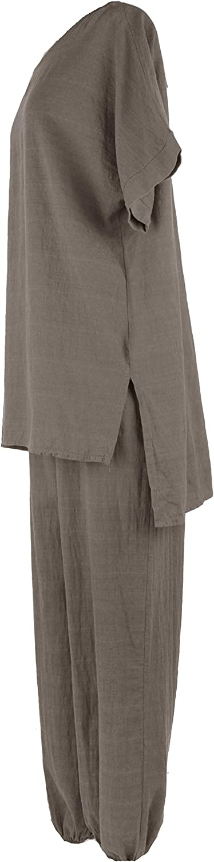 Texture Ladies Womens Italian Lagenlook 2 Piece Cotton Top Blouse Tunic Harem Trousers Joggers Set One Size Mocha