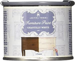 Amitha Verma Chalk Finish Paint, No Prep, One Coat, Fast Drying | DIY Makeover for Cabinets, Furniture & More, 4 Ounce, (Chantilly White)