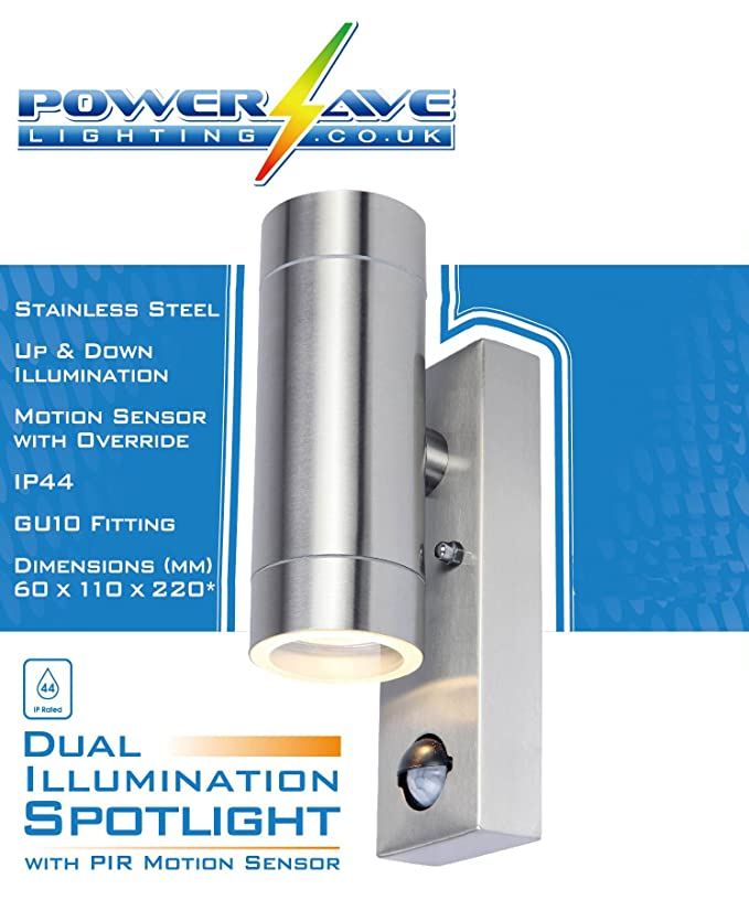 367c17c8714d PowerSave Up/Down Dual Illumination Wall Spot Lights with PIR Motion Sensor  & Manual Override (Silver): Amazon.co.uk: Garden & Outdoors