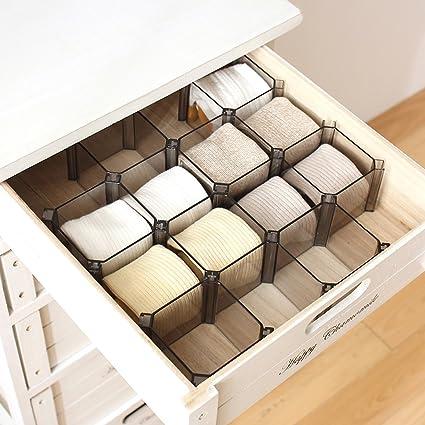 Warrah, set di 6 scatole regolabili da cassetto, per vestiti ...