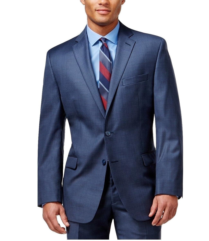 Calvin Klein Slim Fit Blue Textured Wool 2 Button Flat Front New Men's Suit Set (48L 40W x 32L)