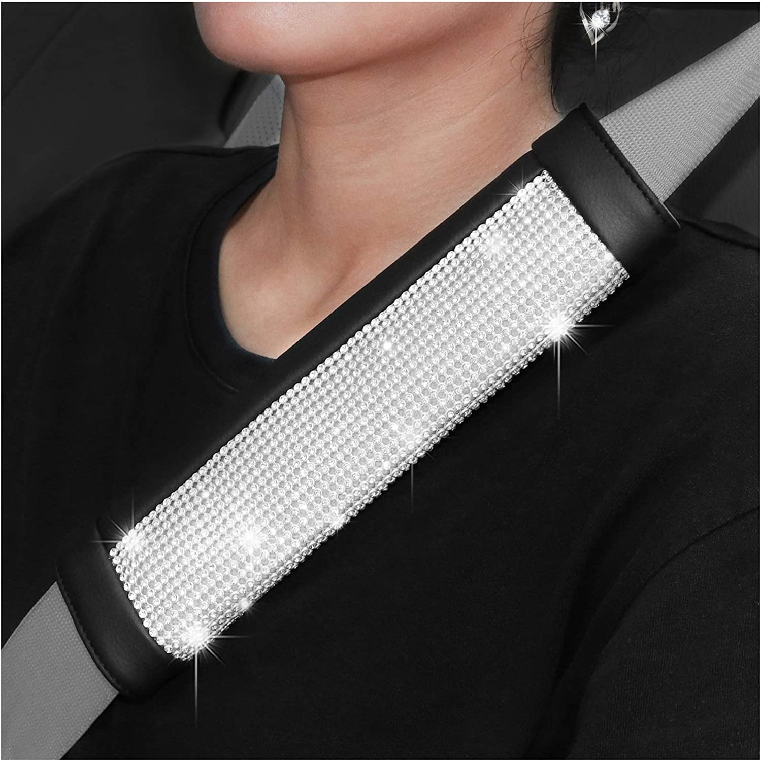 SEG Direct Diamond Seat Belt Pads Pack of 2 Black Microfiber Leather with Inlaid Silver Bling Bling Rhinestones