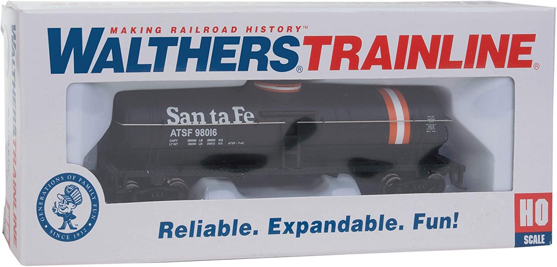 Black//Orange//White Walthers Trainline HO Scale Model Santa Fe Tank Car