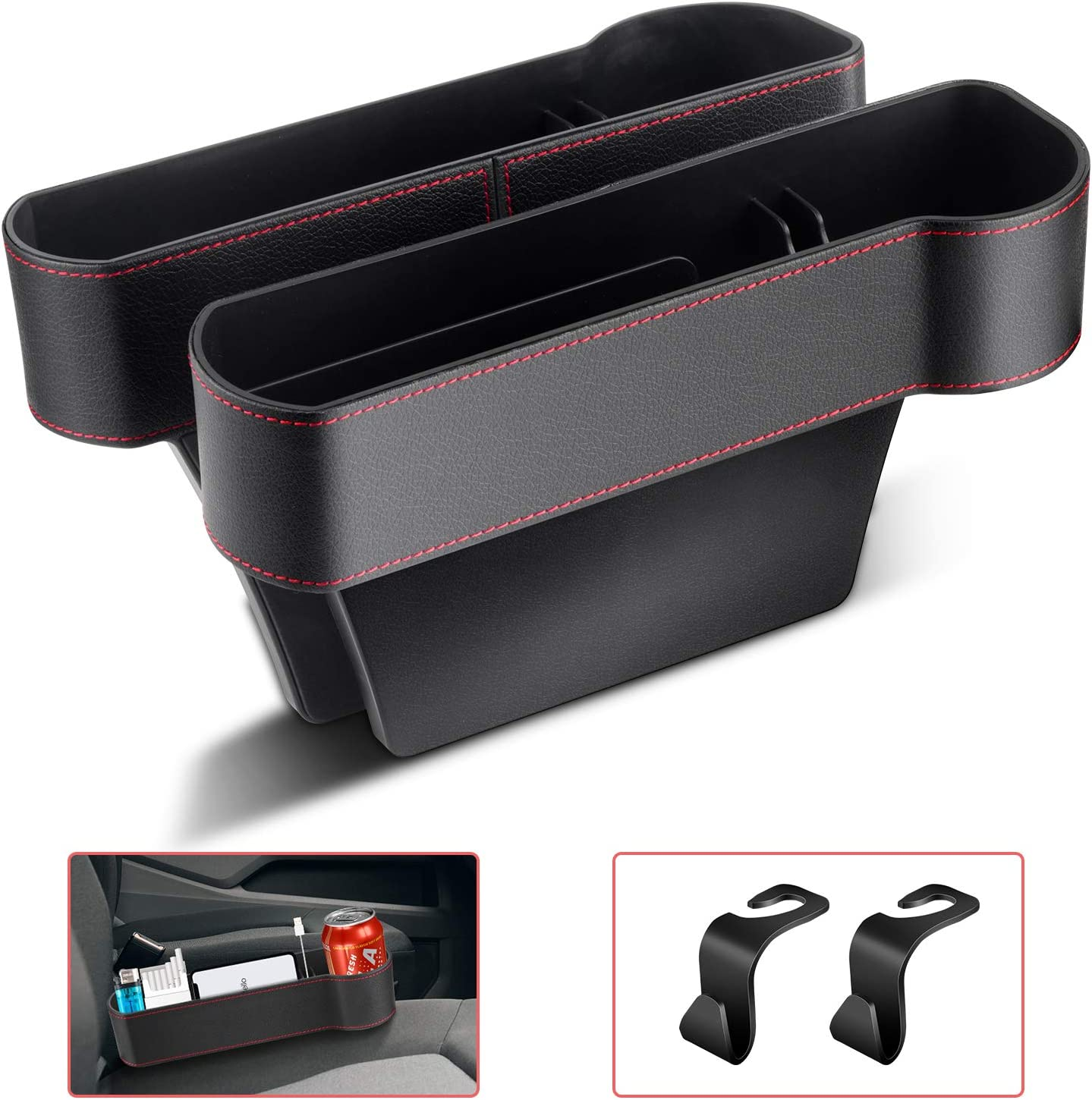 Car Seat Gap Filler, PU Leather Car Organizer Front Seat Filler with Cup Holder, Console Side Pocket for Wallet, Cellphones, Keys, Cards, Coins, Drink Cups, etc 2 Pack(black)