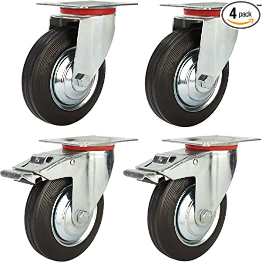 """4 Pack 2/"""" Swivel Caster Wheels Hard Rubber Base with Top Plate /& Bearing"""