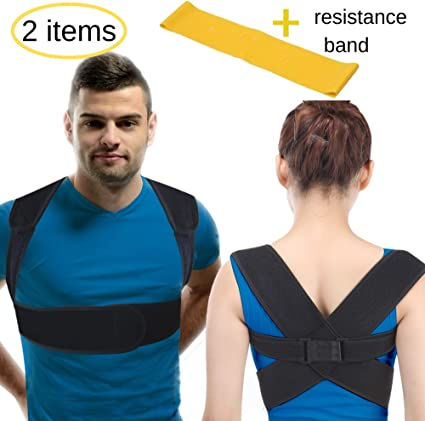 BeFit24/® Posture Corrector for Women and Men Under Clothes Neck and Clavicle Pain Relief Adjustable Upper Back Straightener Slouching Correction Shoulder Support Brace Size 0 - Black