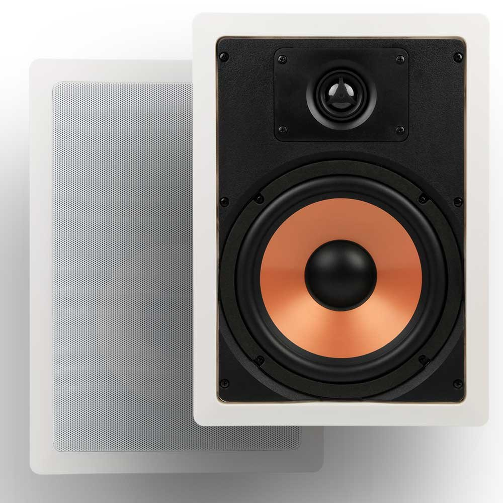 Micca M-8S 8 Inch 2-Way In-Wall Speaker with Pivoting 1'' Silk Dome Tweeter (Each, White)