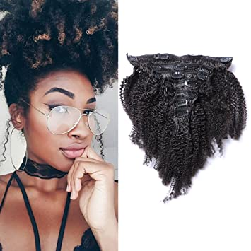 Amazon Com Afro Kinky Curly Clip In Hair Extensions 4b 4c Pattern