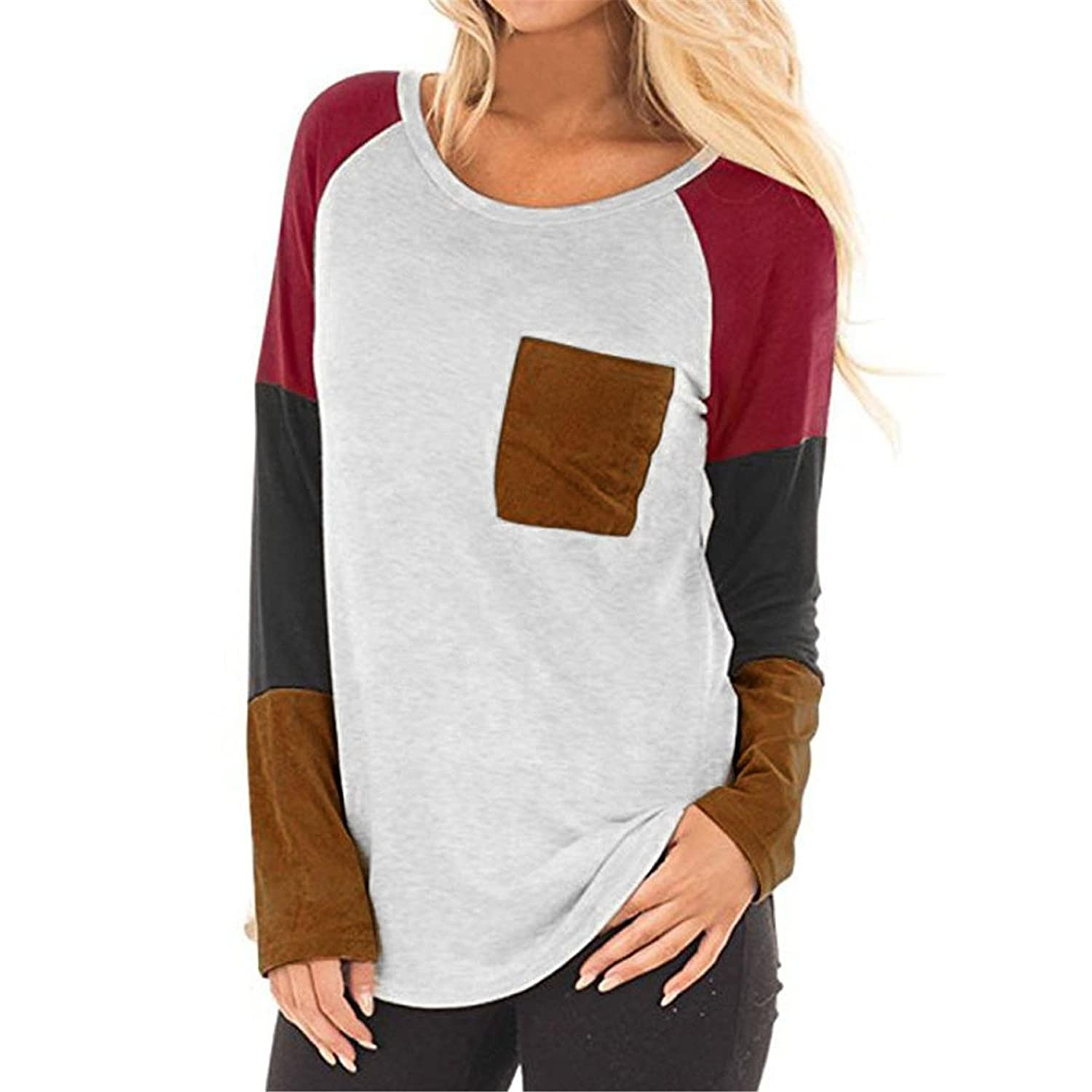 KESEE Women Long Sleeve O-Neck Pocket Patchwork Casual Loose T-Shirt Blouse Tops Splice T Shirt