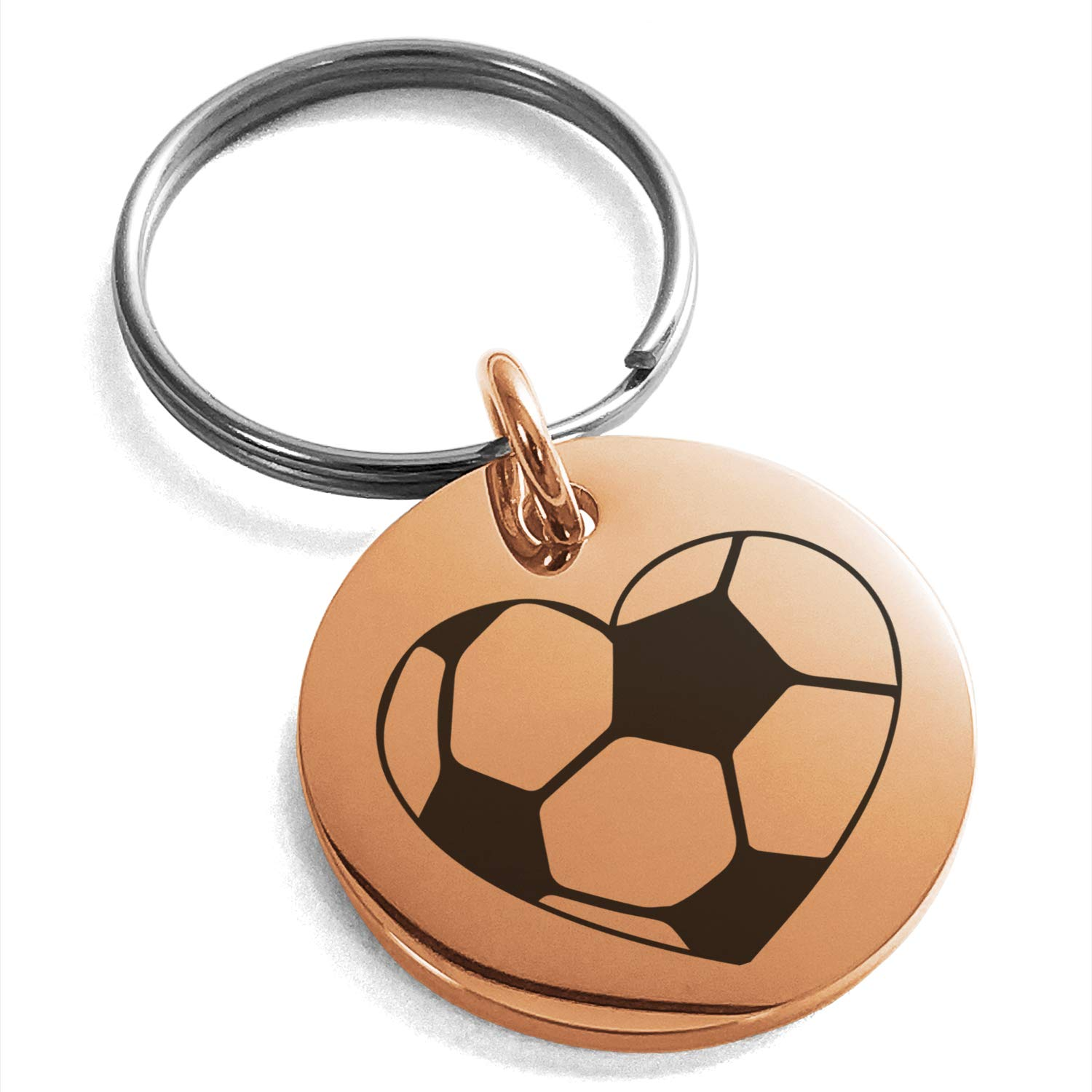 Tioneer Rose Gold Plated Stainless Steel Love Soccer Heart Engraved Small Medallion Circle Charm Keychain Keyring
