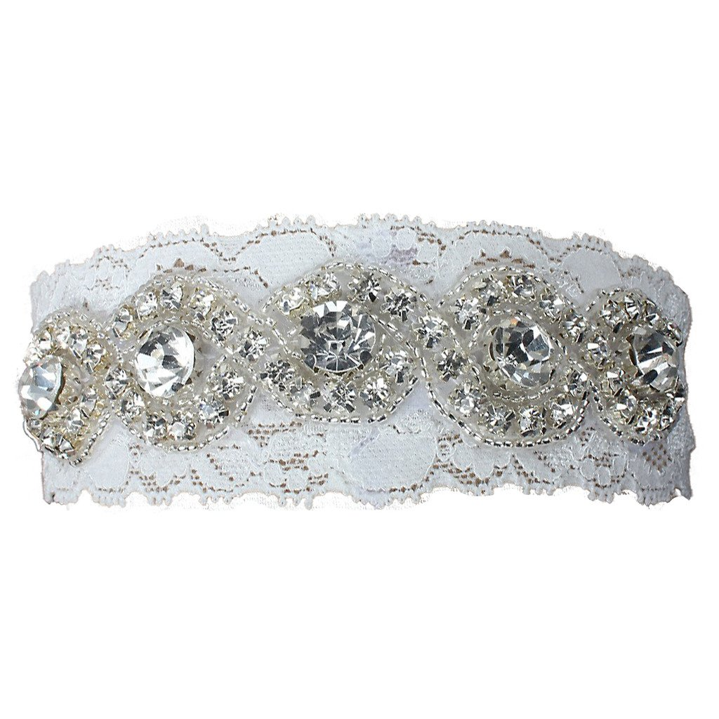 FAIRY COUPLE Wedding Accessories Bridal Garter White Lace with Rhinestone A-G002 (Medium/ 20 Inches, White) Fashion Plaza