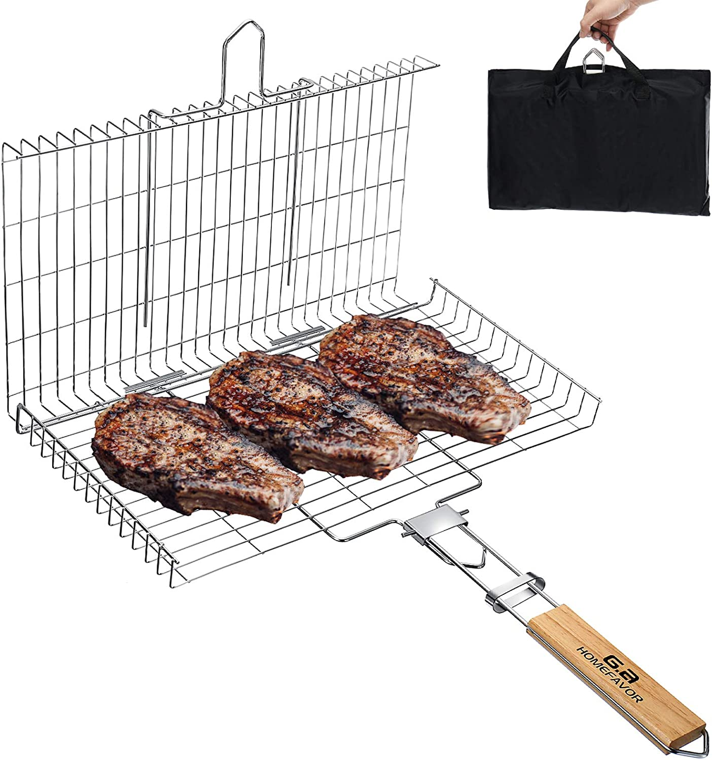 """G.a HOMEFAVOR Large Size Portable Grill Basket, 17"""" x 10"""" Stainless Steel 304 BBQ Grilling Basket for Ribs Fish Tomahawk Steak Seafood Chicken + Storage Bag"""