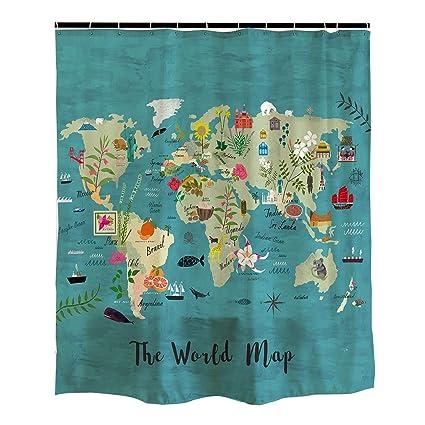 Amazon Com Orange Design World Animal Map Shower Curtain With