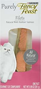 Purina Purely Fancy Feast Natural Wild Alaskan Salmon Filet Cat Treat Gourmet Complement .99 oz 1 Pack