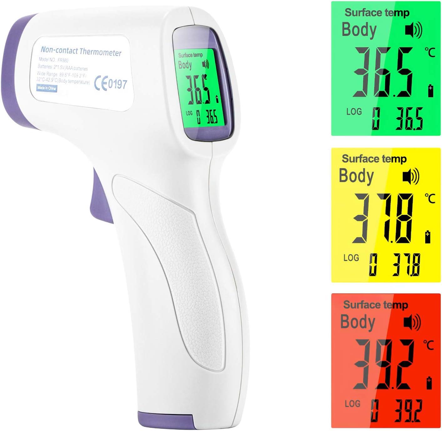 Eventronic Termómetro de frente infrarrojo digital Medición de temperatura de alta precisión sin contacto, con lectura inmediata para bebés y adultos