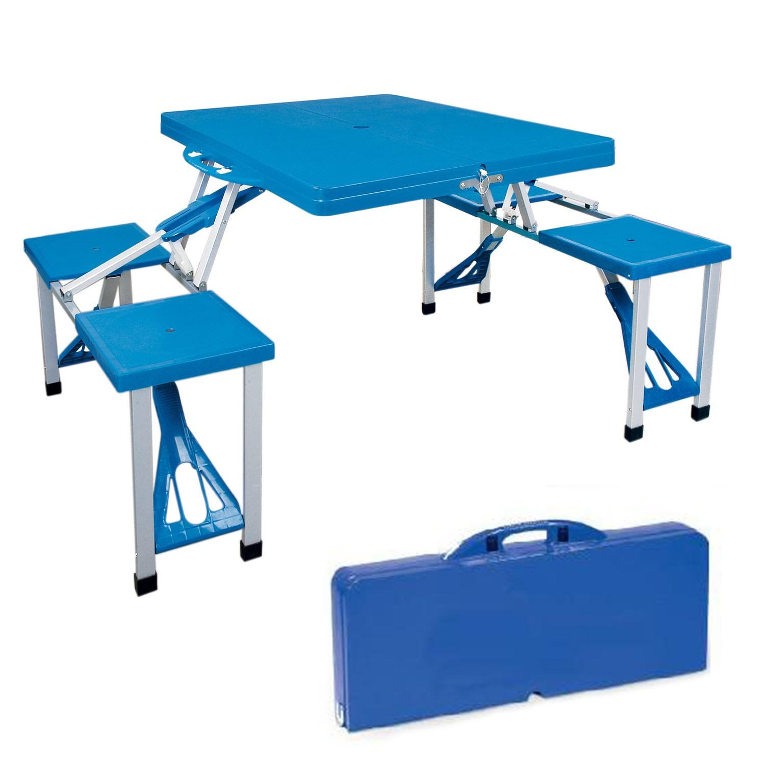 Hillington Portable Picnic Table Briefcase Set with 2 Benches for Seating 4 - Ideal for Garden Party, Camping, Hiking, Outdoor Dining, BBQ