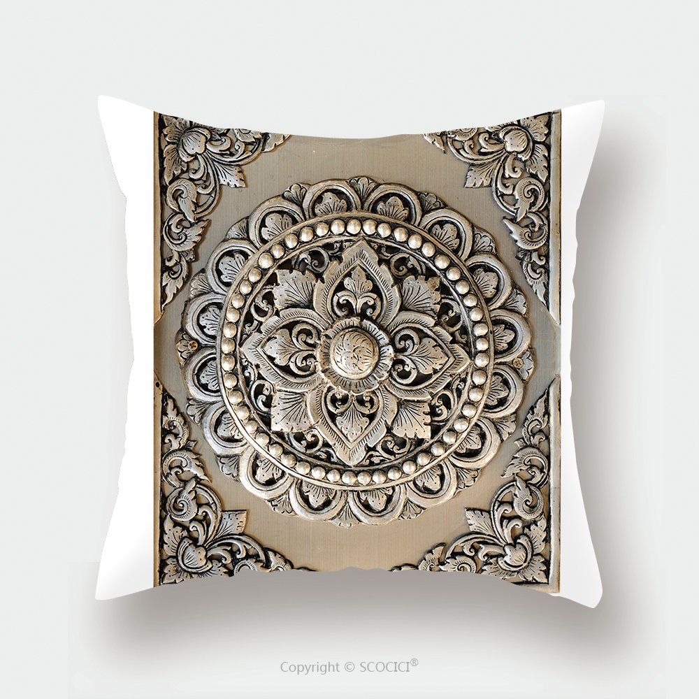 Custom Satin Pillowcase Protector Decorative Art Of Lanna Thai Engraving Of The Silver Value 98181977 Pillow Case Covers Decorative