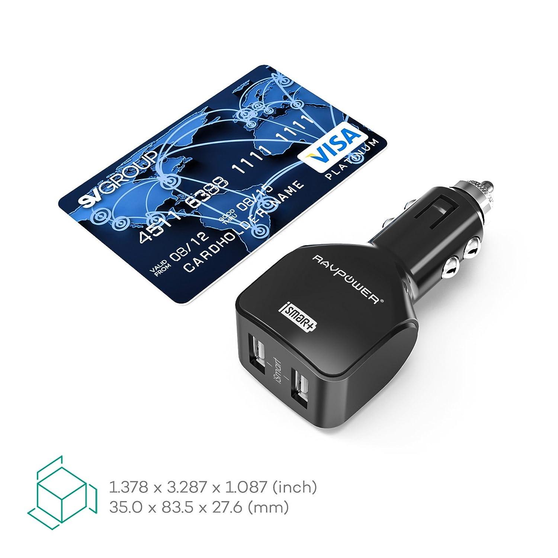 RAVPower® Cargador de Coche con 2 Puertos USB Max 4.8A (5V 2.4A + ...