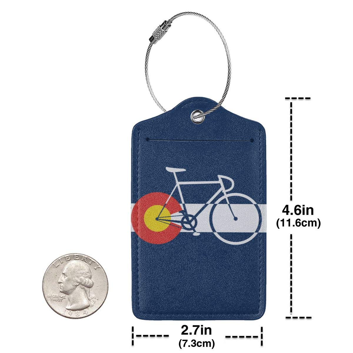 GoldK Colorado Flag and Bicycle Leather Luggage Tags Baggage Bag Instrument Tag Travel Labels Accessories with Privacy Cover