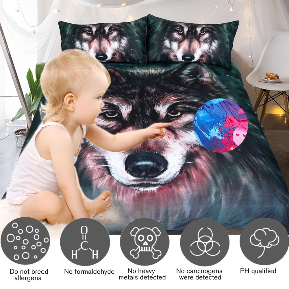 Sleepwish Wolf Bedding Cool Black Wolf Duvet Cover Set 3D Oil Painting Bedding Sets King Size