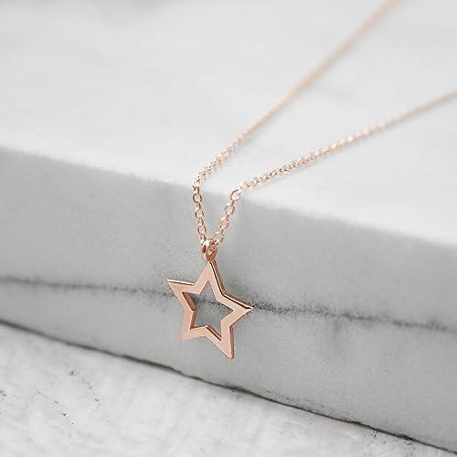 Goldstar Karma Code >> Rose Star Necklace Rose Gold Star 9k 14k 18k Gold Necklace Rose