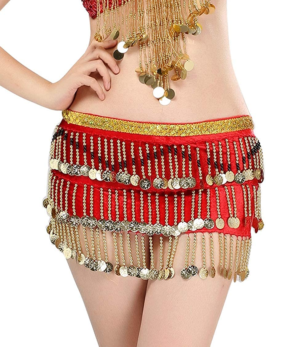 Aivtalk Women Belly Dance Hip Scarf Gypsy Wrap Skirt with Coins Dancing Accessories