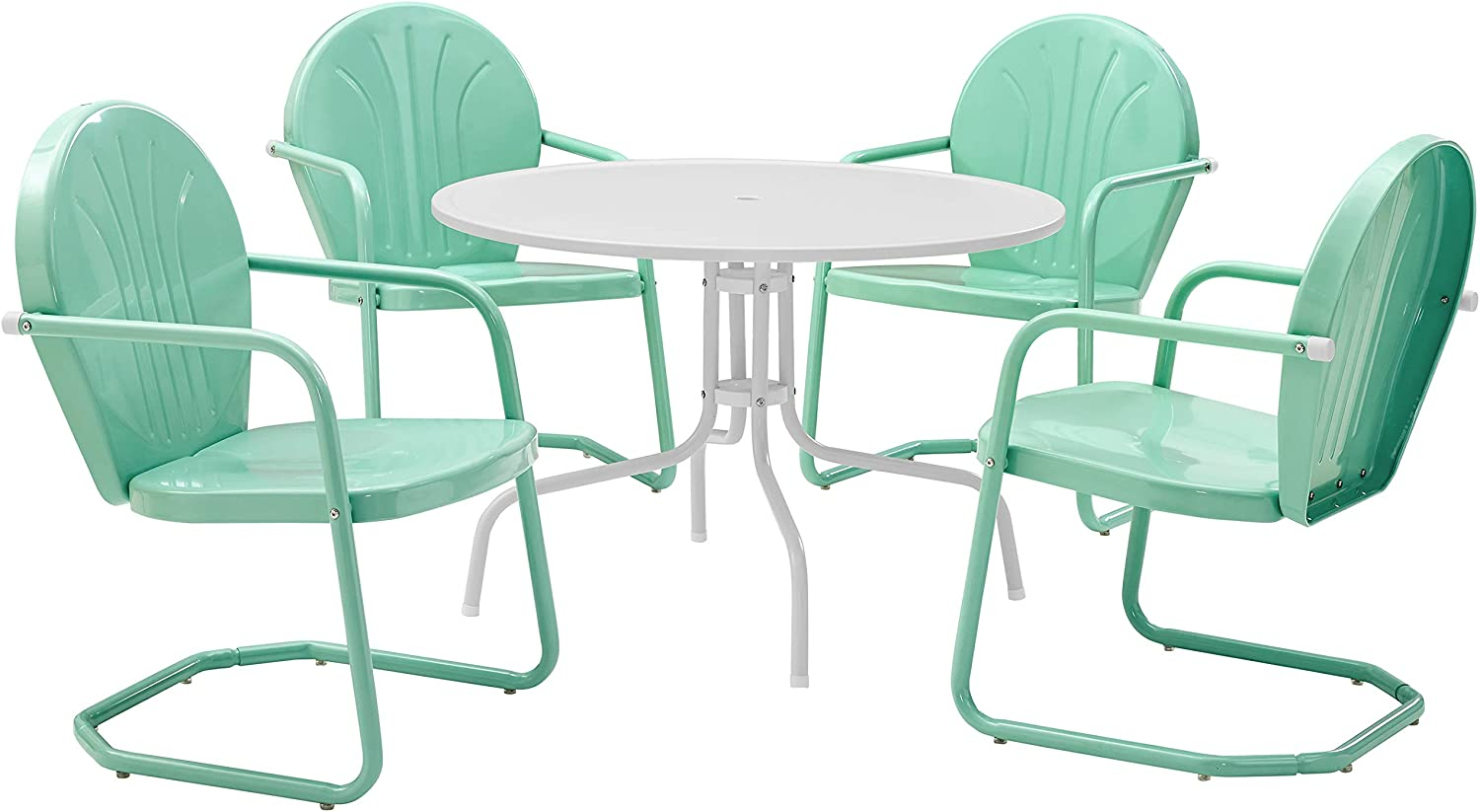 Crosley Furniture Griffith Retro Metal Outdoor 5-Piece Dining Set with 39