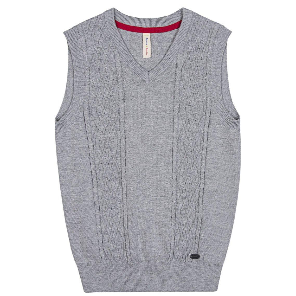 Benito & Benita Boys' Sweater Vest Woolen Cable Uniform Vest Navy (Size 6-16)