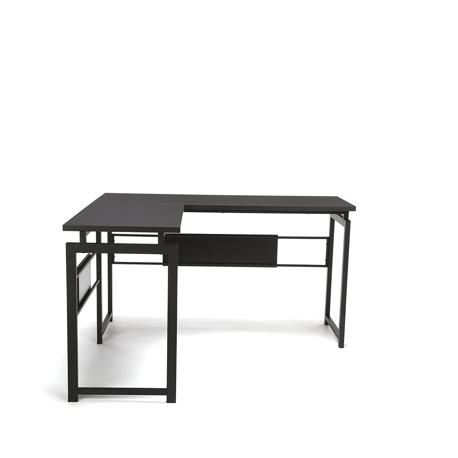 OFM L-Shaped Desk – Corner Computer Desk with Metal Legs, Black ESS-1020-BLK