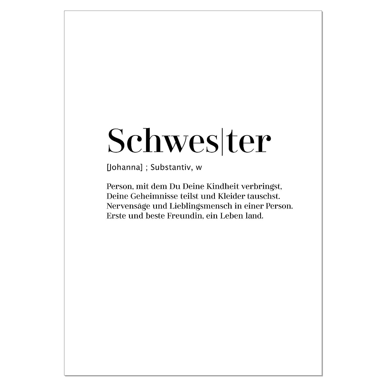tolles Geschenk f/ür die Schwester personalisierbarer Kunstdruck mit Worterkl/ärung auf hochwertigem Papier DIN A5 bis A1 Poster Schwester