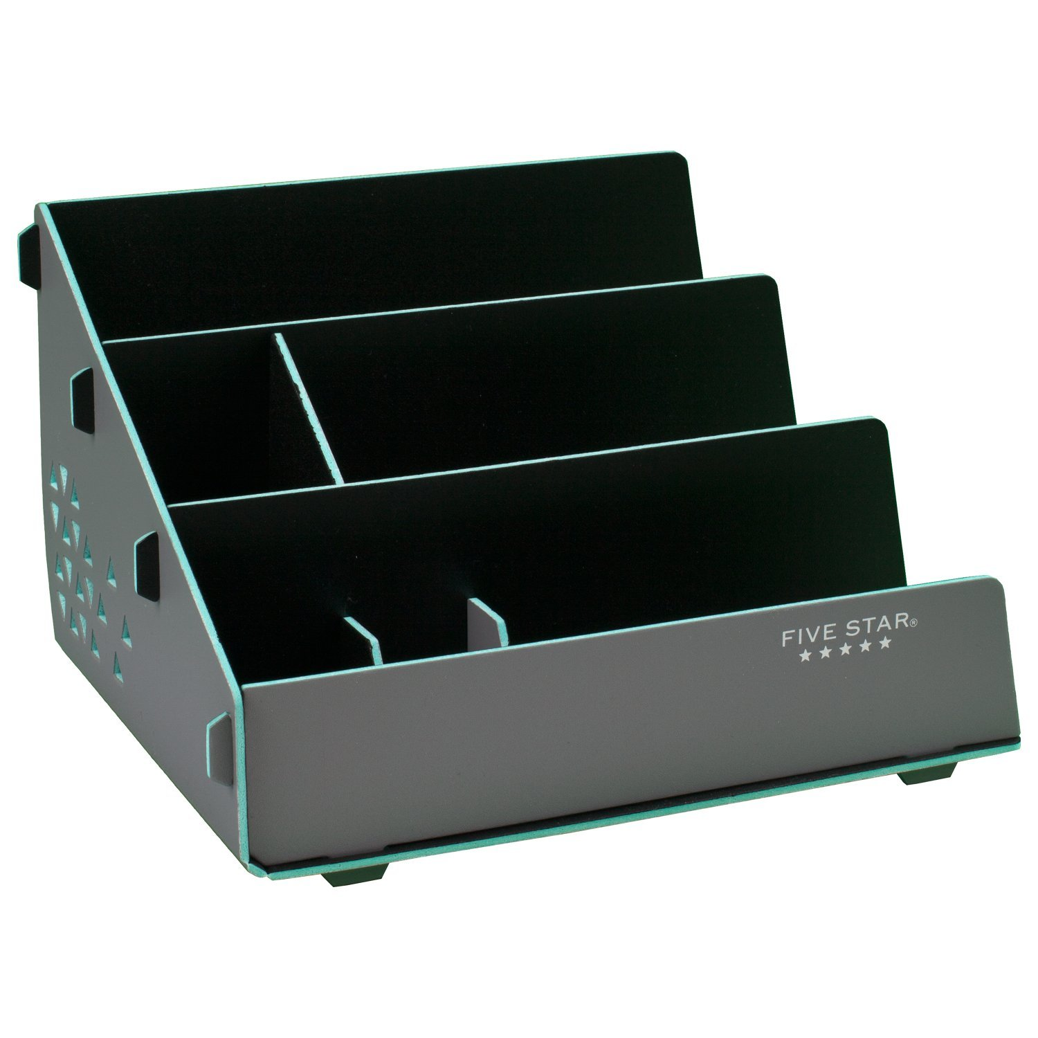 Five Star Desk Organizer, 5 Compartments, Tech Charging Station, Stadium, Gray / Teal (73258)