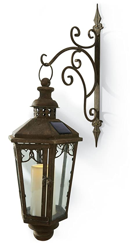 Solarleuchte Wandleuchte Antik Look Laterne Mit LED Kerze Metall Grau Braun Photo Gallery
