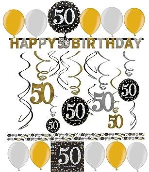 50 Geburtstag Dekoration Deko Set Sparkling Gold Silber Happy