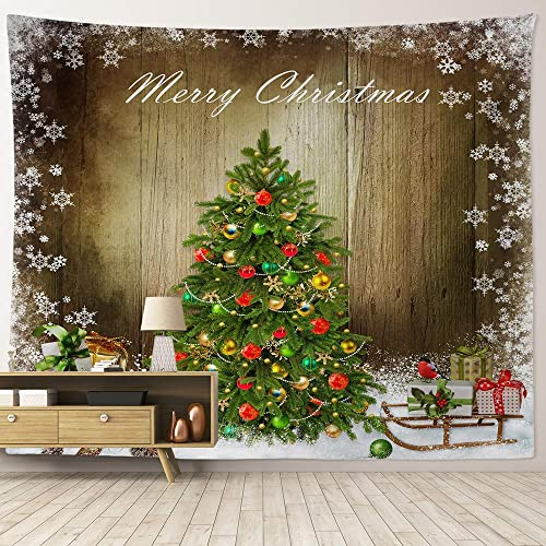 HIYOO Home Christmas Theme Wall Hanging Fabric Art Tapestry, Xmas New Year Winter Indoors Decorations, Decor for Dorm Room Bedroom Living Room – Christmas Trees 90 W x 71 L